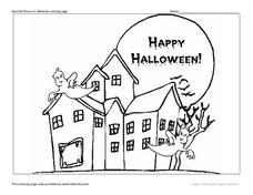 Haunted House #4 Halloween Coloring Page Worksheet