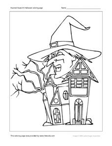Haunted House #5 Coloring Page Worksheet