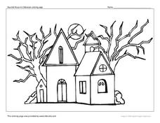 Haunted House #6 Halloween Coloring Page Worksheet