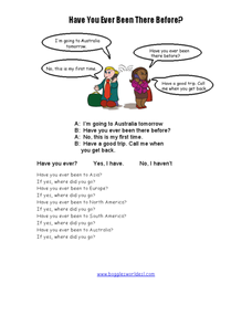 Have You Ever Been There Before? Worksheet