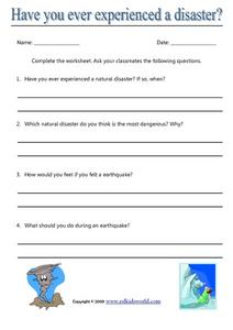 Have You Ever Experienced a Disaster? Worksheet
