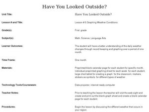 Have You Looked Outside? Lesson #5- Graphing Weather Conditions Lesson Plan