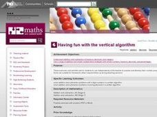Having fun with the vertical algorithm Lesson Plan