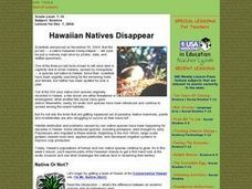 Hawaiian Natives Disappear Lesson Plan