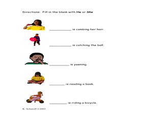 He or She Kindergarten - 1st Grade Worksheet | Lesson Planet