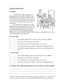 Healthy Family Meals Worksheet