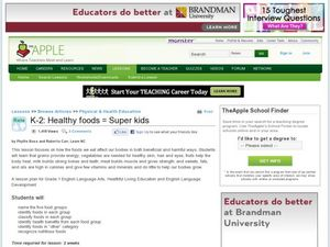 Healthy Foods=Super Kids Lesson Plan