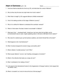 Heart of Darkness pp. 32-46 Worksheet