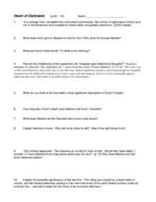 Heart of Darkness pp. 63-72 Worksheet