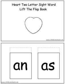 Heart Two Letter Sight Words: Lift the Flap Book Worksheet
