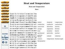 Heat and Temperature Word Search Worksheet