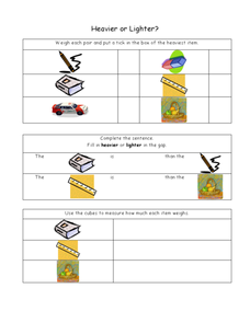 Heavier or Lighter Worksheet