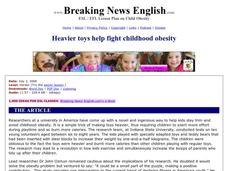 Heavier Toys Help Fight Childhood Obesity-Harder Lesson Worksheet