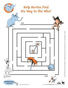 Help Horton Find His Way to the Who! Worksheet