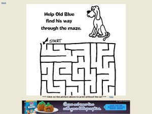Help Old Blue Find His Way Through a Maze Worksheet