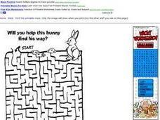 Help the Bunny Find His Way Maze Worksheet