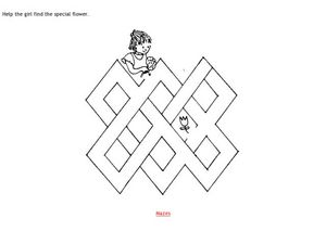 Help the Girl Find the Flower Maze Worksheet