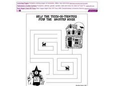 Help the Trick-or-Treaters Find the Haunted House Worksheet