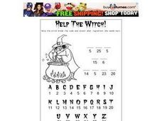 Help the Witch Crack the Code- Number/Letter Matching Cryptogram Worksheet