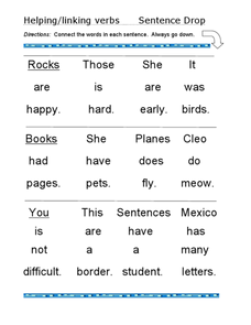 Helping/Linking Verbs: Sentence Drop Worksheet