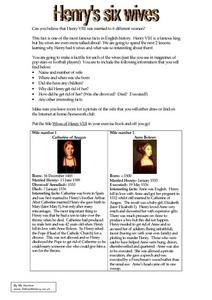Henry's Six Wives Worksheet