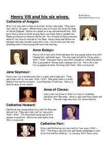 Henry VIII And His Six Wives. Worksheet