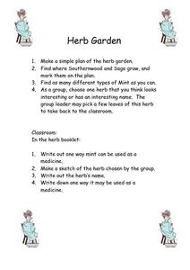Herb Garden Worksheet
