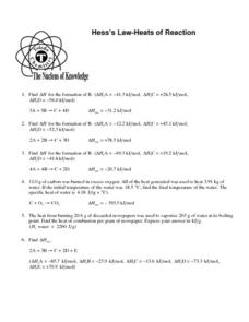 Hess's Law - Heats of Reaction Worksheet