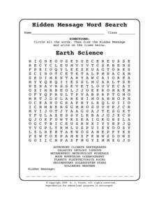 Hidden Message Word Search-Earth Science Worksheet