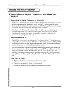 High-Definition Digital Television: Why Make the Switch? Worksheet