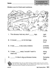 High Frequency Words: Tex and the Big, Bad T-Rex Worksheet