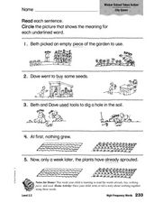 High Frequency Words: Wicker School Takes Action Worksheet