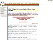 High School Mathematics Problems from Alaska: Problem Setup and Pattern Recognition:  Sunrise in Barrow, Alaska Lesson Plan