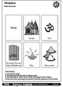 Hinduism Match the Cards Worksheet