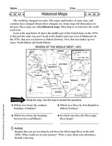 Historical Maps: Rivers of the Middle West 1870 Worksheet