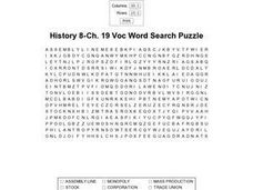 History 8 Ch.19 Voc Word Search Worksheet