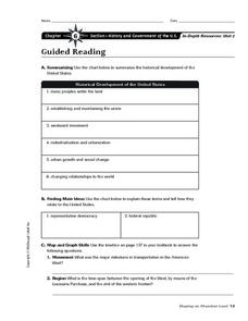 History and Government of the U.S. Worksheet