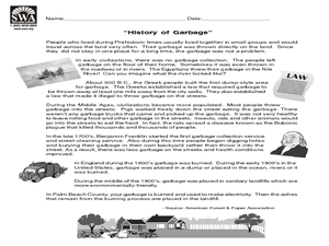 History of Garbage Worksheet