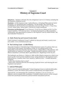 History of Supreme Court Lesson Plan