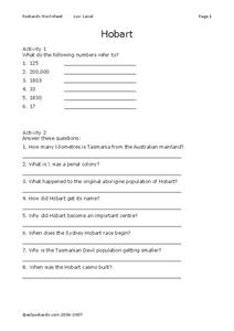 Hobart Comprehension Questions Worksheet