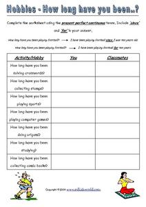 Hobbies - How Long Have You Been...? Worksheet