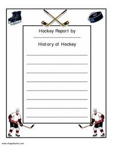 Hockey Report Worksheet