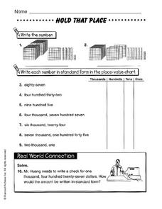 Hold That Place Worksheet