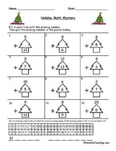 Holiday Math Mystery Worksheet