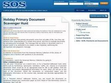 Holiday Primary Document Scavenger Hunt Lesson Plan