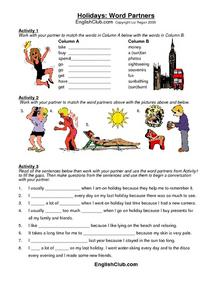 Holidays: Word Partners Worksheet