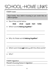 Home-School Links: Sorting Words Worksheet