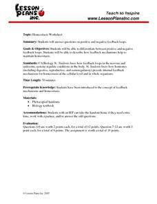 Homeostasis Worksheet