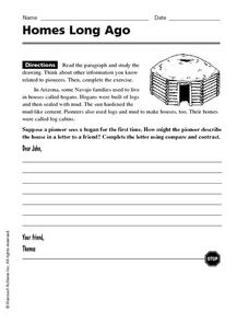 Homes Long Ago Worksheet