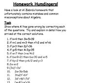 Homework Humdingers Worksheet